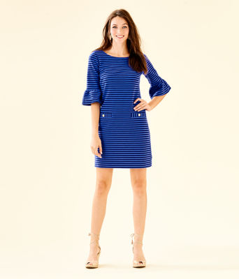 Alden Striped Dress, Blue Grotto Ottoman Stripe, large 3