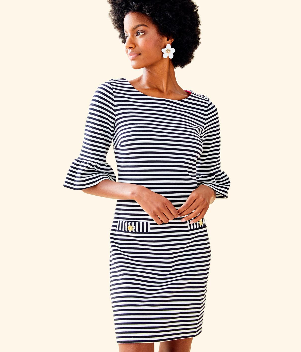 Alden Bell-Sleeve Stripe Dress in Coconut Ottoman Stripe from Lilly Pulitzer