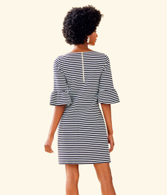 Alden Striped Dress, Coconut Ottoman Stripe, large 1