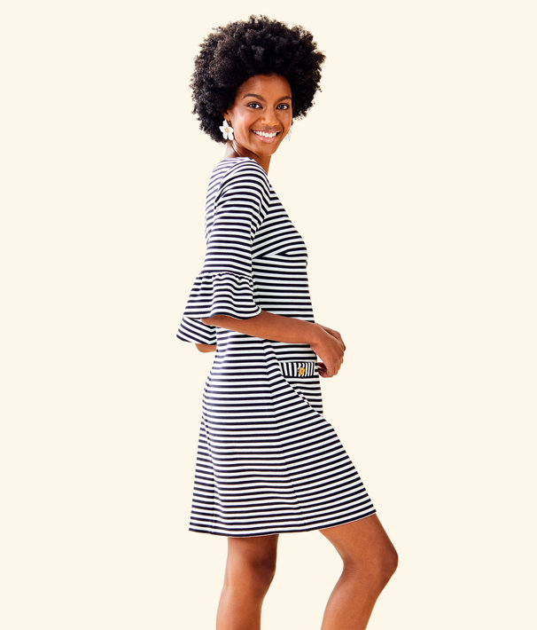 Alden Striped Dress, Coconut Ottoman Stripe, large