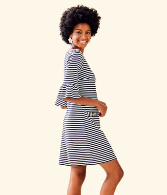 Alden Striped Dress, Coconut Ottoman Stripe, large 2