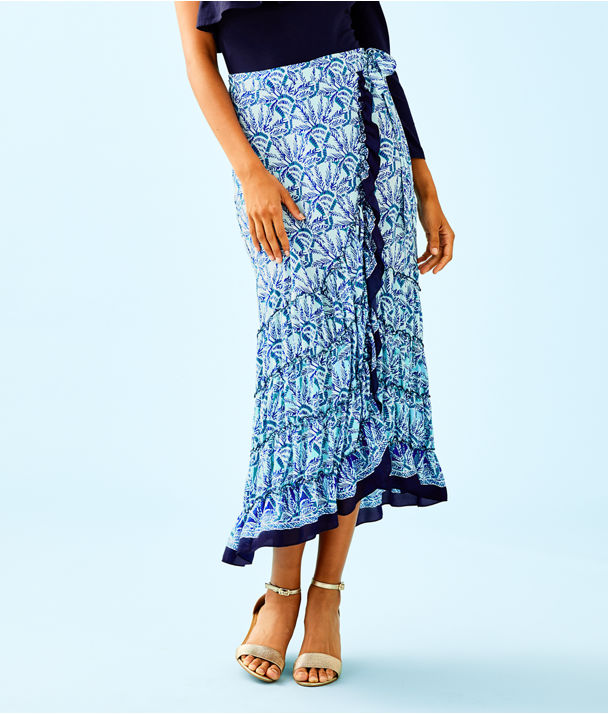 Alaina Wrap Skirt, Whisper Blue One Of A Kind Engineered Skirt, large