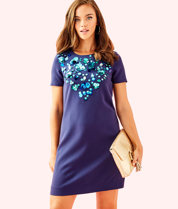 Havyn Embellished Dress, True Navy, large