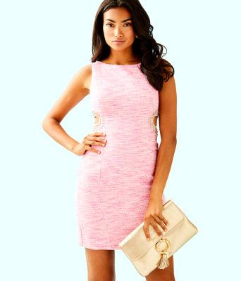 Catie Shift Dress, Pink Tropics Resort Boucle, large 0