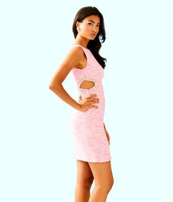 Catie Shift Dress, Pink Tropics Resort Boucle, large 2