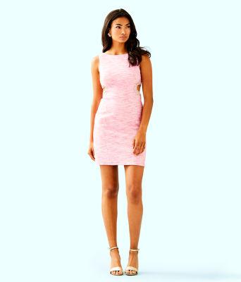 Catie Shift Dress, Pink Tropics Resort Boucle, large 3