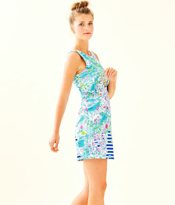 Marli Stretch Shift Dress, Multi Postcards From Positano Engineered Woven, large 2