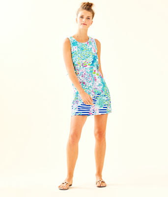 Marli Stretch Shift Dress, Multi Postcards From Positano Engineered Woven, large