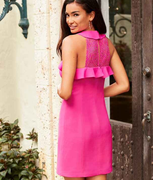 Britnee Stretch Shift Dress, Bougainvillea Pink, large