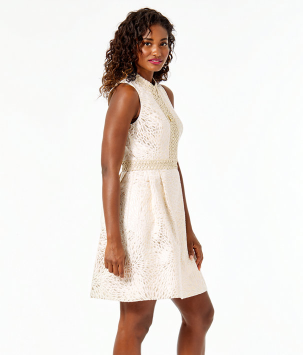 Franci Dress, Gold Metallic Lagoon Jacquard, large