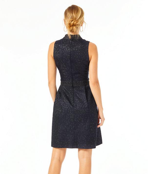 Franci Dress, Onyx Lagoon Jacquard, large