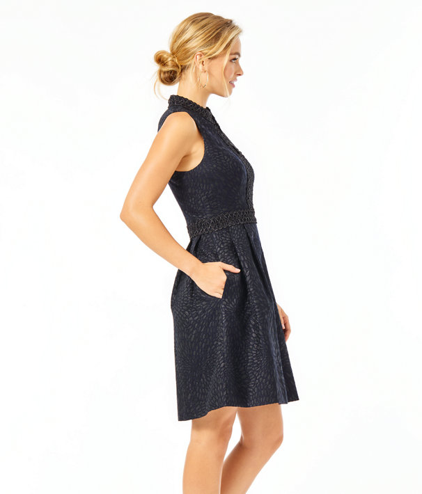 Franci Dress, Onyx Lagoon Jacquard, large