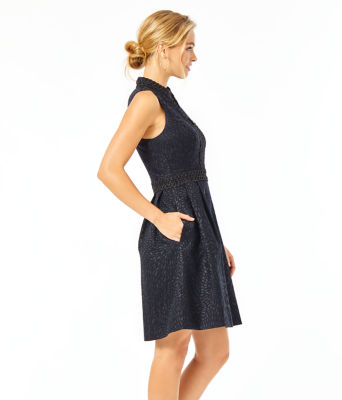 Franci Dress, Onyx Lagoon Jacquard, large 2
