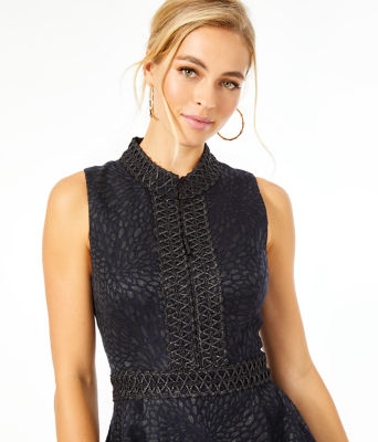 Franci Dress, Onyx Lagoon Jacquard, large 4