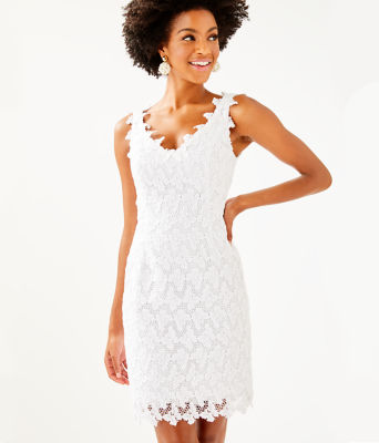 Reeve Shift Dress, Resort White Papillion Lace, large