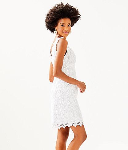Reeve Shift Dress, Resort White Papillion Lace, large 2