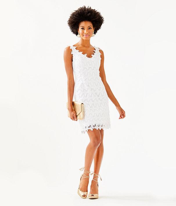 Reeve Shift Dress, Resort White Papillion Lace, large