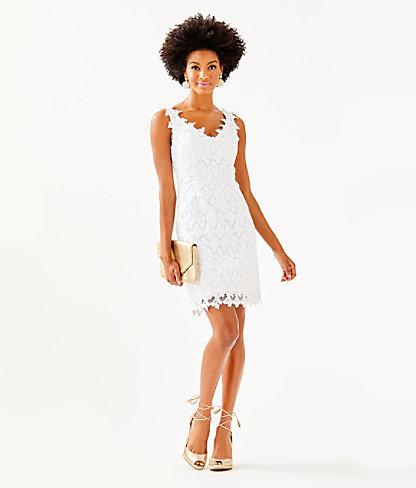 Reeve Shift Dress, Resort White Papillion Lace, large 3