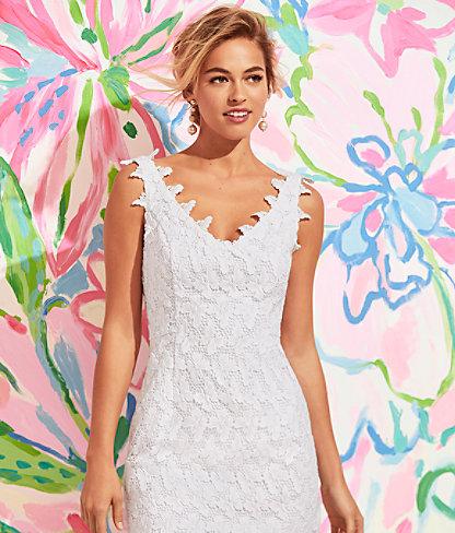 Reeve Shift Dress, Resort White Papillion Lace, large 4