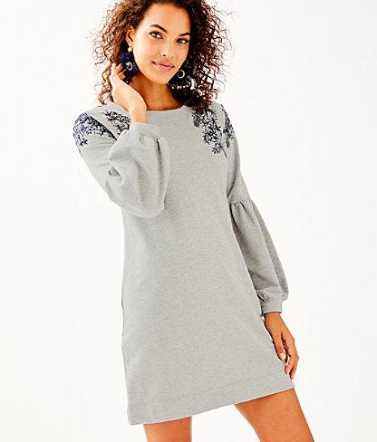 Bartlett Embellished Sweatshirt Dress, Heathered Seaside Grey, large