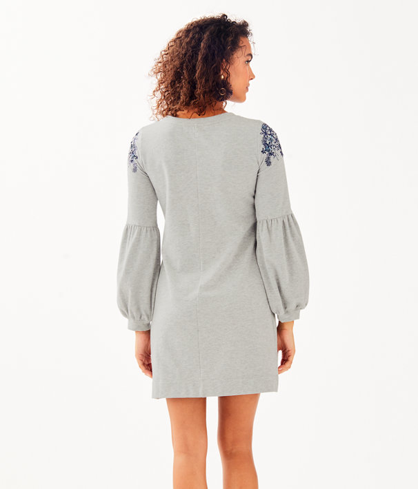 Bartlett Embellished Sweatshirt Dress, Heathered Seaside Grey, large