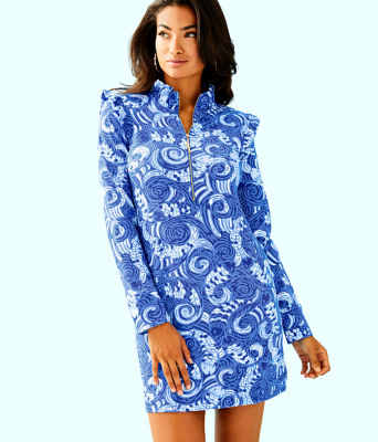 UPF 50+ Skipper Ruffle Dress, Blue Grotto So Offishal, large 0