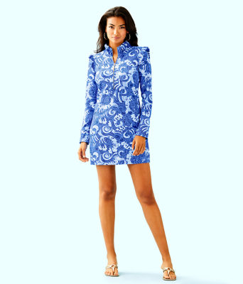 UPF 50+ Skipper Ruffle Dress, Blue Grotto So Offishal, large 3