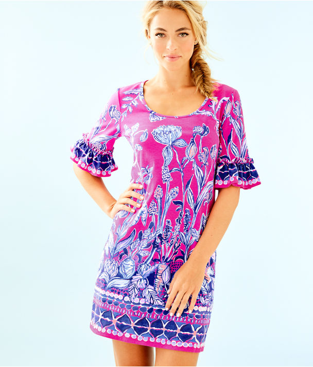 Jayden Dress, Bougainvillea Pink Un Beet Able Engineered Dress, large