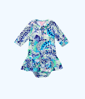 Amelia Infant Polo Dress, Turquoise Oasis Wave After Wave, large 0