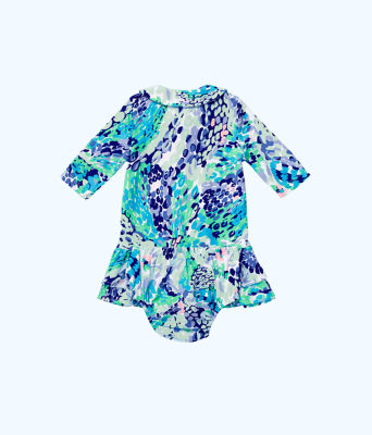 Amelia Infant Polo Dress, Turquoise Oasis Wave After Wave, large 1