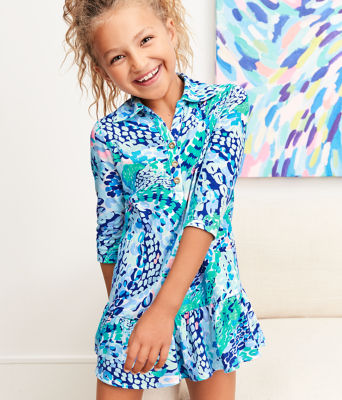 Girls Amelia Polo Dress, Turquoise Oasis Wave After Wave, large 4