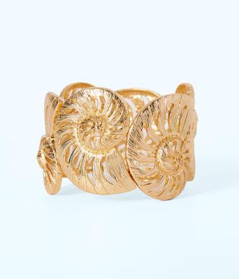 Statement Shell Cuff, Gold Metal, large 0