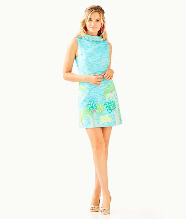 Portia Shift Dress, Amalfi Blue Resort Boucle, large