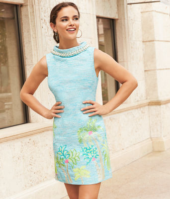 Portia Shift Dress, Amalfi Blue Resort Boucle, large