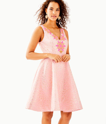 Elanie Fit And Flare Dress, , large
