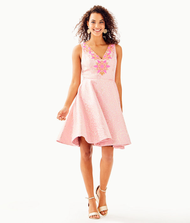 Elanie Fit And Flare Dress, Pink Tropics Lagoon Jacquard, large