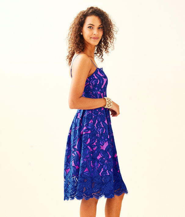Camella Dress, Royal Purple Two Tone Orchid Lace, large