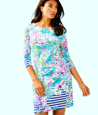 UPF 50+ Pearson Dress, Multi Postcards From Positano Engineered Knit, large