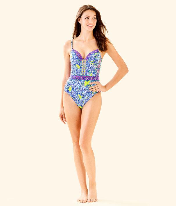 Palma One Piece Swimsuit, Resort White Zest For Life Swim, large