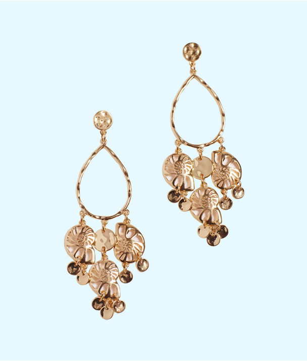 Feeling Nautilus Chandelier Earrings, Gold Metallic, large