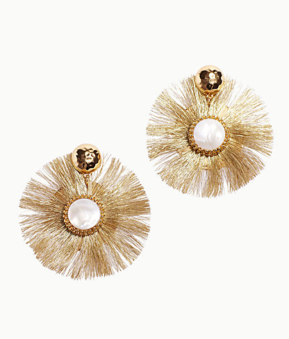 Fan-Tastic Earrings, Gold Metallic, large