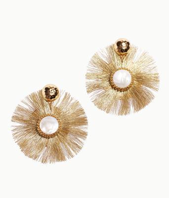 Fan-Tastic Earrings, Gold Metallic, large