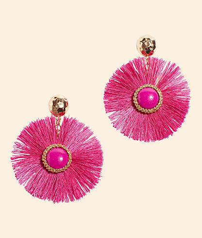 Fan-Tastic Earrings, Pink Tropics, large