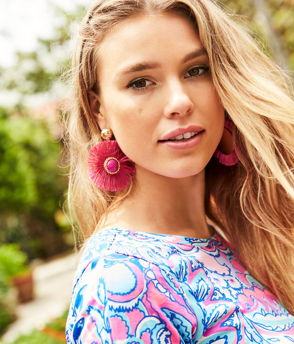 Fan-Tastic Earrings, Pink Tropics, large