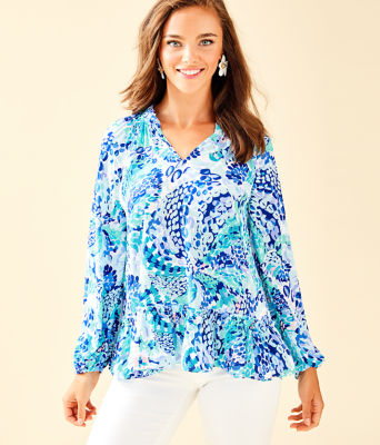 Savanna Top, Turquoise Oasis Wave After Wave, large