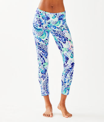 "Luxletic 24"" Weekender Midi Legging, Turquoise Oasis Wave After Wave, large"