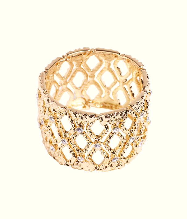 Mosaic Stretch Bracelet, Gold Metallic, large