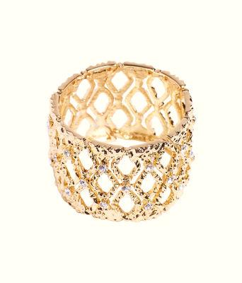 Mosaic Stretch Bracelet, Gold Metallic, large 0