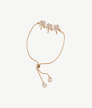 Sparkling Palm Trees Pull-Tie Bracelet, , large