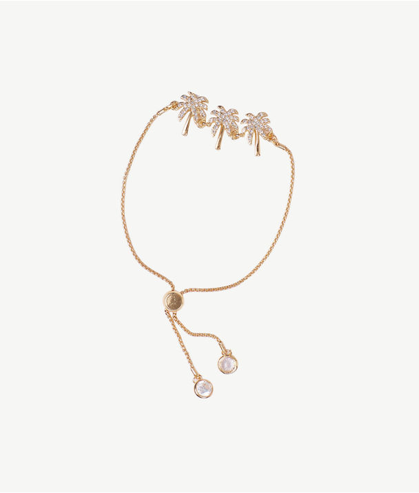 Sparkling Palm Trees Pull-Tie Bracelet, Gold Metallic, large
